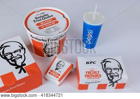 Chicago Il, Usa - April 20, 2021: Kfc Fried Chicken Set At Fast Food Restaurant Kentucky Fried Chick