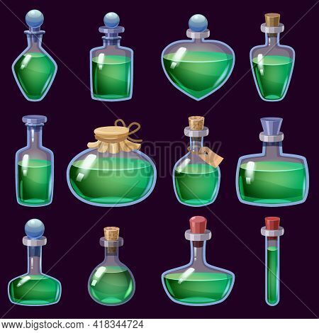 Set Of Bottles Liquid Potion Magic Elixir Colorful . Game Icon Gui For App Games User Interface. Vec