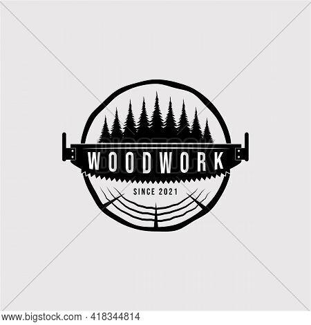 Vintage Carpentry Logo Vector Illustration Design. Woodwork Symbol