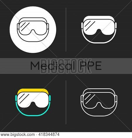 Medical Goggles Dark Theme Icons Set. Medical Equipment For Eye Protection. Doctor Uniform. Disposab