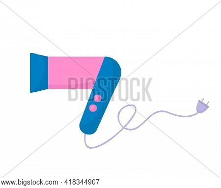 Pink Hair Dryer For Women. Icon Hairdryer In Flat Style. Vector Illustration