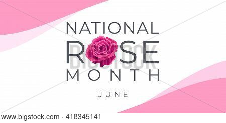 National Rose Month. Vector Banner, Illustration For Social Media, Card, Poster. Text And Rose On A
