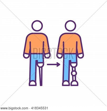 Prosthesis Devices Evolution Rgb Color Icon. Above-knee Prosthetic. Improvement For Better Mobility.
