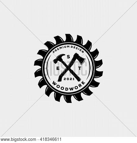 Woodwork Carpentry House Vintage Badge Logo Template Vector Illustration Design. Hipster Classic Han