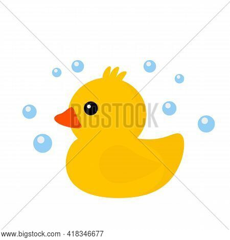 Yellow Rubber Duck In A Soapy Foam. Icon In Flat Style. Vector Illustration Isolated On White Backgr