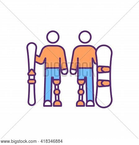 Snowboarding With Prosthetic Leg Rgb Color Icon. Functional Ability. Skiing On Prosthetic Limbs. Bel