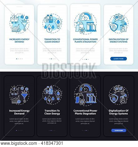 Energetics Tendency Onboarding Mobile App Page Screen With Concepts. Raised Demand Walkthrough 4 Ste