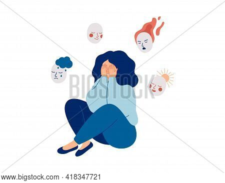 Tired Woman Holds Masks With Positive And Negative Emotions. Girl Plays A Role, Or Feels Fake.  Pers