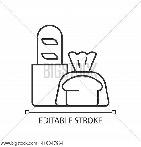 Fresh Bread Takeout Linear Icon. Bakery Products. Pastries. Bread Loaves, Baguettes, Toasts. Thin Li