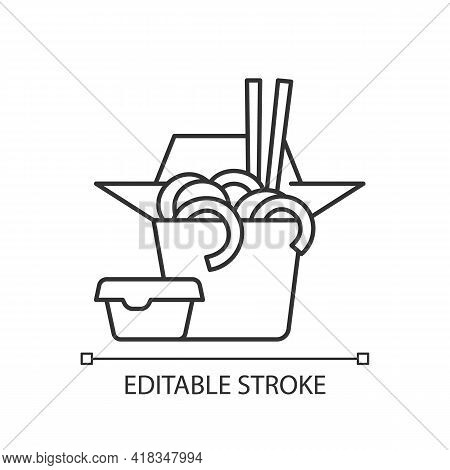 Takeaway Chinese Food Linear Icon. Fried Crispy Noodles. Chinese Restaurant Delivery. Thin Line Cust