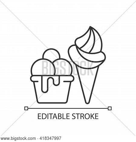 Ice Cream To Go Linear Icon. Frozen Treats Delivery. Gelato, Sorbet. Frozen Dessert With Flavors. Th