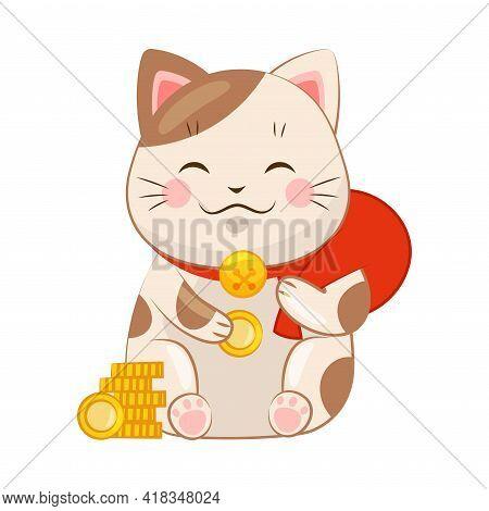 White Maneki-neko Cat With Collar Holding Red Sack As Ceramic Japanese Figurine Bringing Good Luck V