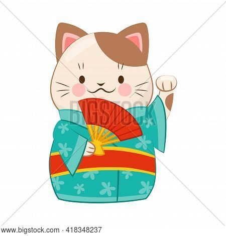 White Maneki-neko Cat In Kimono With Raised Left Paw As Ceramic Japanese Figurine Bringing Good Luck