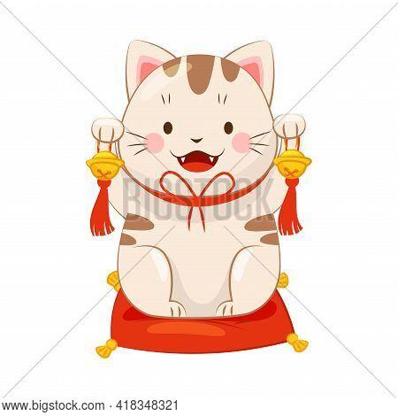 White Maneki-neko Cat Ringing Bell As Ceramic Japanese Figurine Bringing Good Luck Vector Illustrati
