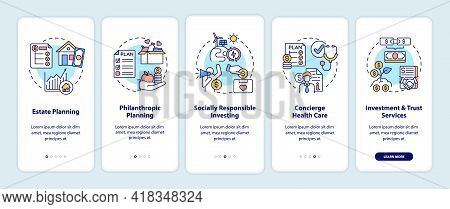 Wealth Advisory Services Onboarding Mobile App Page Screen With Concepts. Estate, Philanthropy Walkt