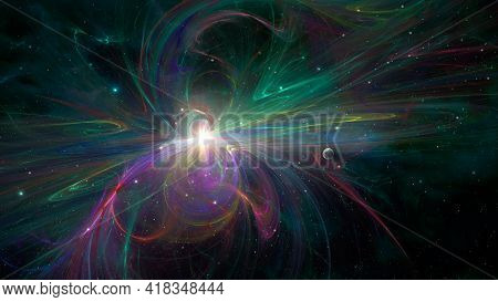 Space Background. Star Explosion In Colorful Fractal Nebula With Planet. Elements Furnished By Nasa.