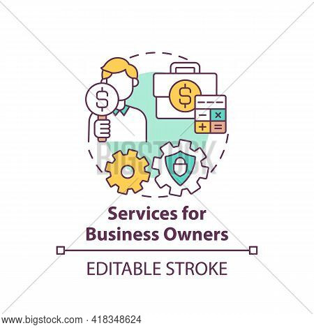 Services For Business Owners Concept Icon. Wealth Management Idea Thin Line Illustration. Accounting