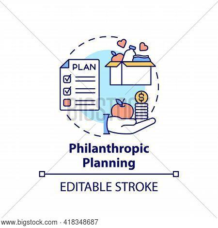 Philanthropic Planning Concept Icon. Wealth Advisory Idea Thin Line Illustration. Plan For Charitabl