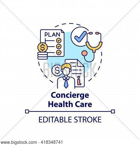 Concierge Healthcare Concept Icon. Wealth Advisory Service Idea Thin Line Illustration. Concierge Me