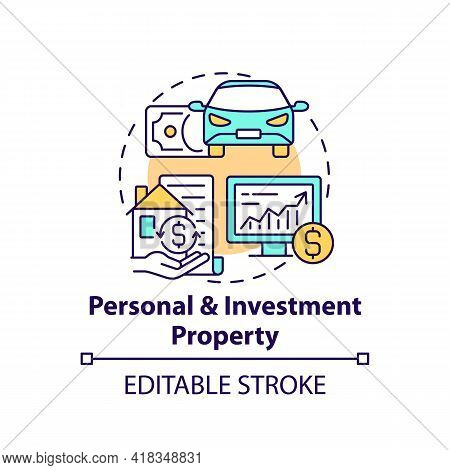 Personal And Investment Property Concept Icon. Comprehensive Wealth Planning Element Idea Thin Line