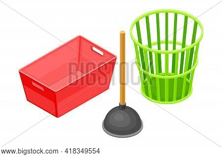 Household Cleaning Equipments With Wastepaper Basket And Sink Plunger Isometric Vector Composition