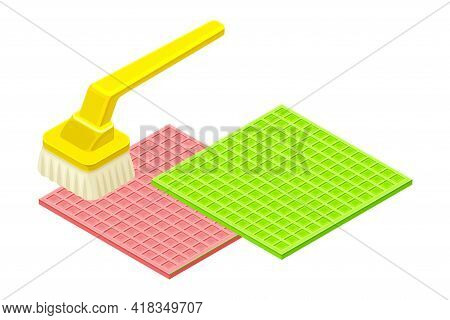 Scrub Brush With Handle Cleansing Mat As Household Cleaning Equipments Isometric Vector Composition