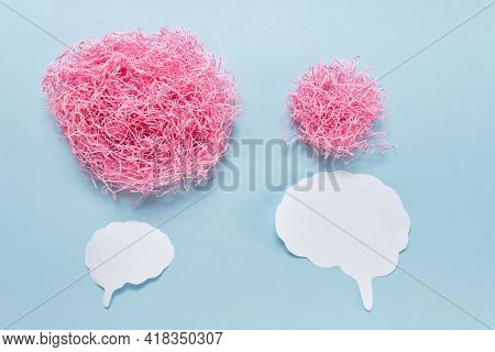 Simple Concept Of Two People Arguing Talking Communicating Expressed With Two Paper Brain Outlines A