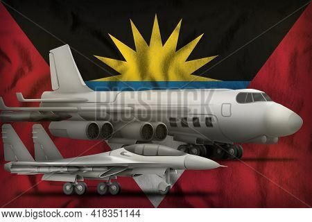Air Forces On The Antigua And Barbuda Flag Background. Antigua And Barbuda Air Forces Concept. 3d Il
