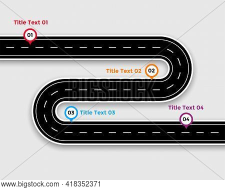 Pathway Infographic Template With Winding Road Design Vector Illustration