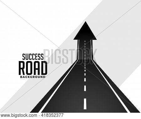 Perspective Road Pathway With Upward Arrow Design Vector Illustration