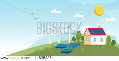Concept Illustration For Ecology, Green Power, Wind Energy. Green Energy - Landscape With Wind Power