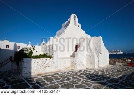 Greek Orthodox Church of Panagia Paraportiani in town of Chora on Mykonos island