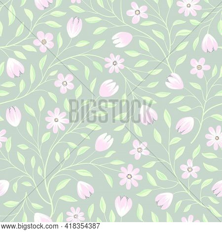 Floral Seamless Pattern. Flower Background. Floral Seamless Texture With Pastel Color Gentle Flowers