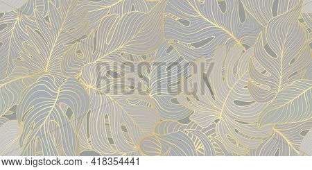 Floral Seamless Pattern With Tropical Leaves. Nature Lush Background. Flourish Garden Texture With L