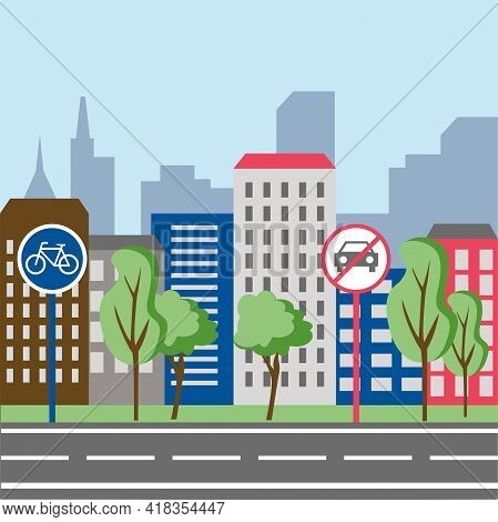 Smart And Ecology City, Landscape City Centre With Many Building, No Cars, Bike Path.