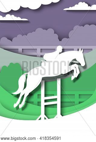 Show Jumping Competition. Horseback Rider, Jumping Horse Silhouettes, Vector Paper Cut Illustration.