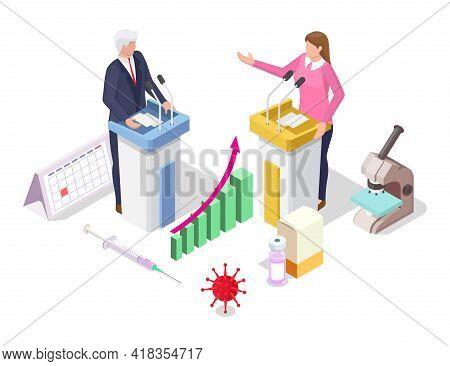 Coronavirus Covid-19 Global Vaccination Political Debates, Flat Vector Isometric Illustration. Vacci