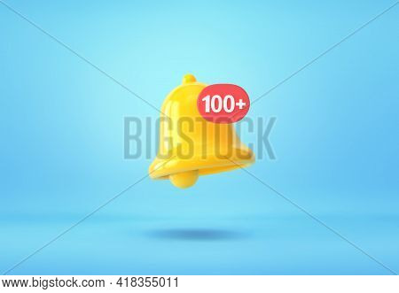 Yellow Notification Bell With One Hundred New Notification On Blue Background. 3d Rendering