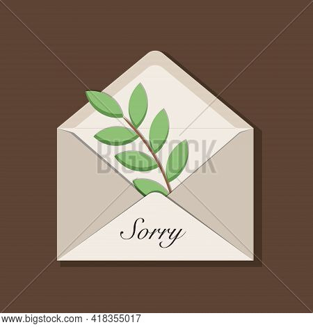 Beige Opened Envelope With Olive Branch As A Symbol Of Peace Inside, Handwritten Message Sorry. With