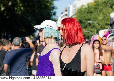 Barcelona - Spain. June 29, 2020: Two Parade Participants Dressed In One-piece Swimwear For Women In