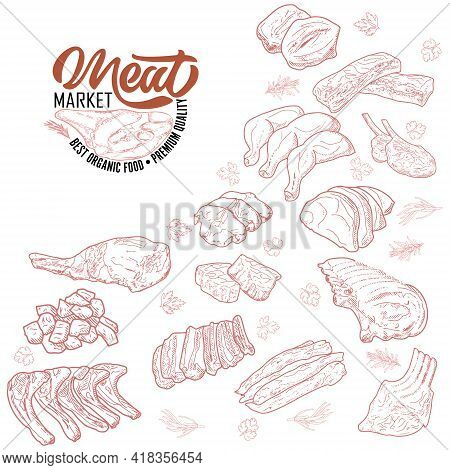 Meat Products In A Frame, Engraved Vector Design. A Set Of Pieces Of Fresh Lamb Meat. A Template For