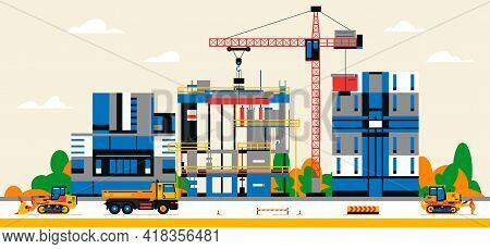 Construction Site In The City Between City Buildings. Building Under Construction And Service Equipm