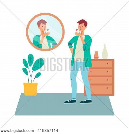 Positive Man Happy With His Appearance, Flat Vector Illustration Isolated.