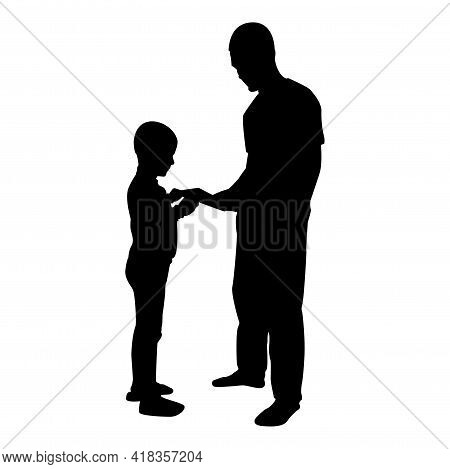 Silhouette Man Transmits Thing To Boy Father Male Give Book Gadget Smartphone Son Children Take Some