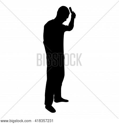 Silhouette Man Is Combing Hair Use Hairbrush Side View Black Color Vector Illustration Flat Style Si