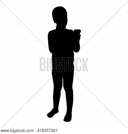 Silhouette Boy Holding Smartphone Phone Playing Tablet Male Using Communication Tool Adolescent Look
