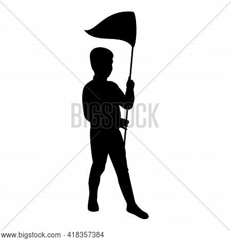 Silhouette Boy Catches Sacc Butterfly Kid Catching Playing With Net Cute Little Male Active Play Chi
