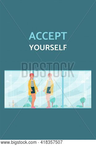 Accept Yourself Banner Or Poster With Confident Woman Flat Vector Illustration.