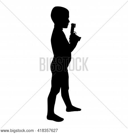 Silhouette Boy Holds Toy Gun Child Playing With Pistol Game Childhood Shooting Weapon Concept Presch