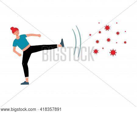 Health Protection - Cartoon Woman Kicking Away Disease Bacteria.